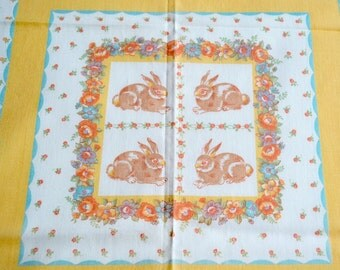 Vintage Fabric - Bunny Rabbit Cottage Cheater Quilt Squares - 44 x 54 Easter Tablecloth Fabric