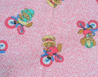 Vintage Fabric - Kittens and Bunny Rabbits on Trikes - 45 x 28