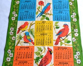 Vintage Kitchen Dish Towel - 1973 Bird Calendar Tea Towel