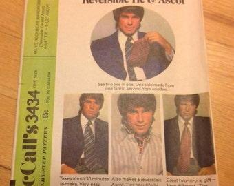 "McCall's 3434, 70s Men's Tie and Ascot  • size 4.75"" tie"