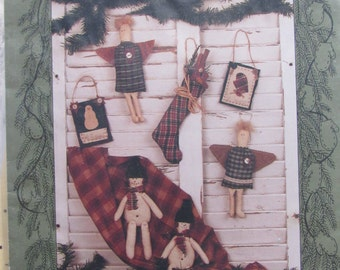 Christmas Collection III/Craft Sewing Pattern by The Quilted Cottage/1993/Ornaments/Angel/Snowman/Stocking/Primitive