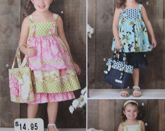 Simplicity 2171/Uncut Sewing Pattern/Girls Dress, Top, Pants, Bag and Hair Accessory/Size 3-8/2011
