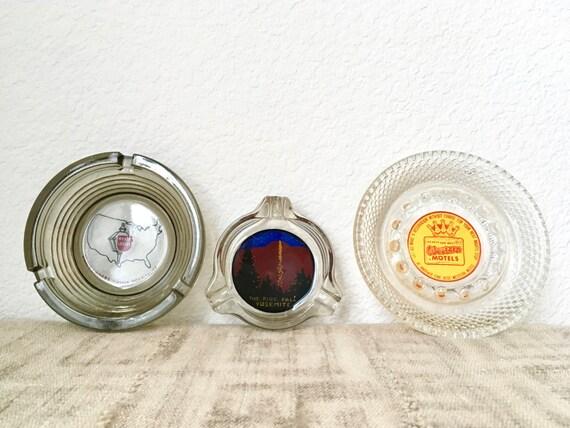 Vintage Souvenir Ashtrays, Choice of 3, Yosemite Fire Fall, Hyatt Lodges, Best Western