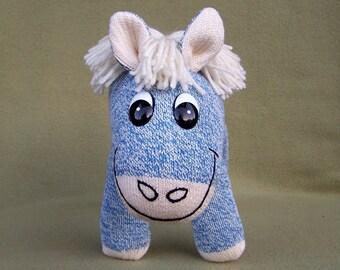 Blue Red Heel Sock Pony Handmade Toy Horse