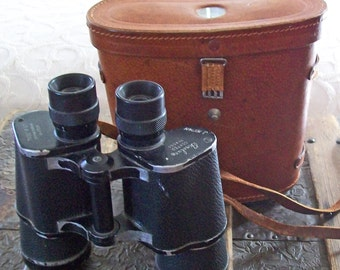 Vintage Binolux Binoculars - Leather Case - Retro Birdwatching