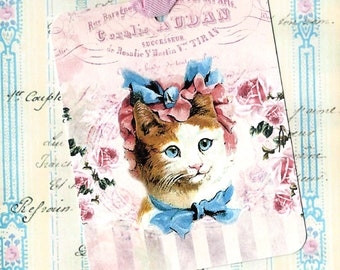 Gift Tags, Kitten, Vintage Style, Kitty Cat Tags, Cat Lover, Cat Tags, Birthday
