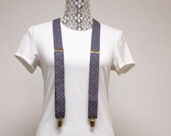 Vintage Mens Suspenders CAS Burgundy and blue print Clip on Suspenders