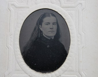 Gorgeous Victorian Tintype Portrait of Young Woman with Long Hair