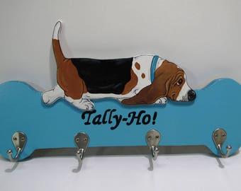 """Hand Painted Basset Accessory/Leash Holder in Turquoise - """"Tally Ho"""""""
