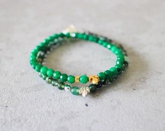Irya bracelet - 4mm moss agate with matte silver pewter leaf delicate bracelet