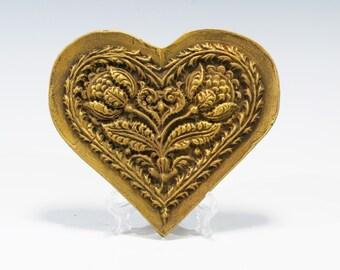 Chalkware Springerle Heart Valentines Heart Folkart Ornament Chalkware Ornament Chalkware Heart Ornament Springerle Heart Valentines Heart
