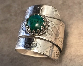 Chrysocolla and Sterling Silver Ring - Wide Band Statement Ring - Unique Silver Jewelry - One of a Kind Size 7 Ring - Artisan Jewelry
