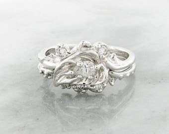 Thorny Brambly Leaf Set, White gold & Diamond