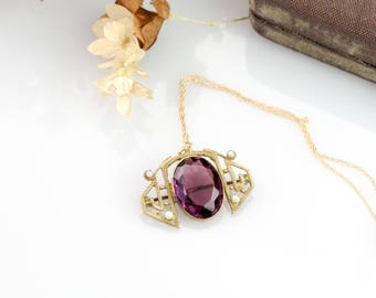 Antique Victorian Pendant Necklace | Gold Filigree Purple Created Amethyst Pendant | Victorian Antique Pendant