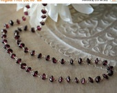 Garnet Rosary Chain Necklace, Garnet Gemstone Bead Necklace, Layering Necklace, Wire Wrapped, Sterling Silver, Custom Length