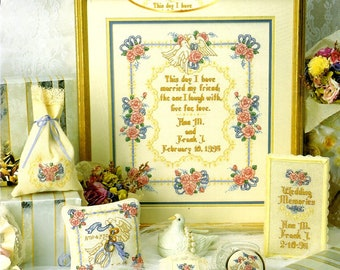 Doves Wedding Ensemble Personalized Wedding Invitation Sampler Ring Bearer Pillow Counted Cross Stitch Embroidery Craft Pattern Leaflet