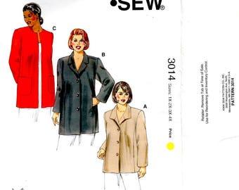 Women's Jackets Side Panels 2 Piece Sleeves Round Neckline Patch Pockets Plus Sizes 1X 2X 3X 4X Kwik Sew 3014 Uncut Craft Sewing Pattern