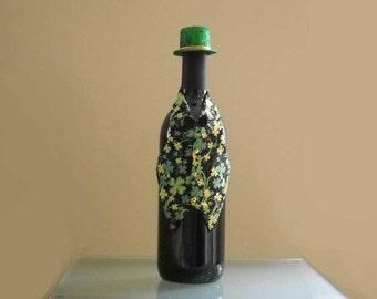 St. Patrick's Day Wine Bottle Vest with Shamrocks and Glitter