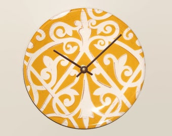 Gold and White Patterned Plate Wall Clock, 8-3/8 Inch Ceramic Plate Clock, Kitchen Decor - 2343