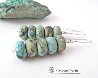 African Turquoise Earrings, Sterling Silver, Earthy Natural Stone Jewelry, Blue Green Stone Dangle Earrings, African Turquoise Jewelry