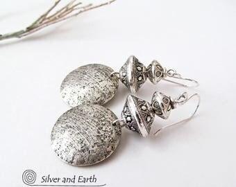 Sterling Silver Earrings Handmade Artisan Earthy Chic Modern Silver Jewelry Tribal Earrings Round Dangle Silver Earrings Everyday Jewelry