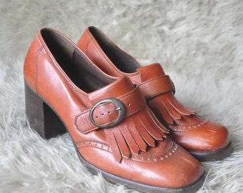 Vintage Orange Leather Loafer Heel Shoes size 6