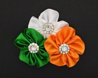 Irish Pride Snap-In Dog Bows® Collar Attachment, Harness Flower, Dog Collar Flower, Irish Dog Collar Flower Dog Flowers