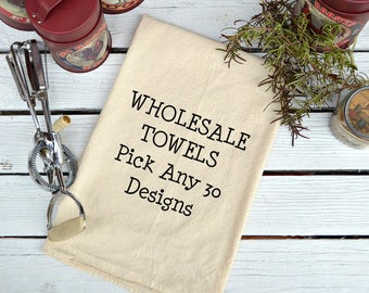 NEW *** WHOLESALE,  Flour Sack Towel, Prim Decor, Country Decor,  Feed Sack Towel, Kitchen Towel, Cotton Dish Towel, Pick Any 30 Towels