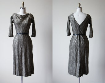 50s Dress - Vintage 1950s Dress - Silvery Gold Lurex Chromespun Bombshell Evening Cocktail Dress M - Talk a Silver Streak Dress