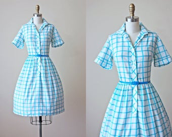 60s Dress - Vintage 1960s Dress - Aqua Plaid Cotton Full Skirt Shirtwaist Dress S - Ice Cream Truck Dress