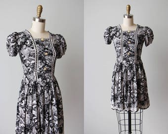 30s Dress - Vintage 1930s Notions Dress - Novelty Print Greco-Roman Myth Puff Sleeve Dress XXS - Mythos Dress