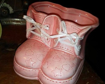 Vintage Russ Pink Baby Shoes Planter