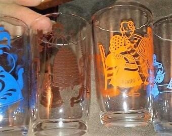 4 Vintage Swinky Swag Juice Glasses