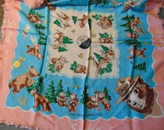Vintage Smokkey the Bear scarf super 50's