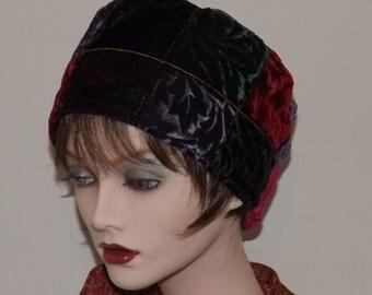Tiffany Velvet Cloche Hat, Unique Velvet Fabric Hat