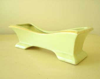 Vintage chartreuse planter, ceramic pottery planter, mid-century modern 1950s 1960s, flared low oblong planter, television topper