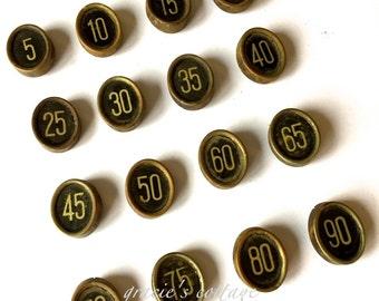 Cash Register Key Choice of ONE Antique Number Brass Frame Patina