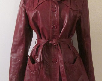 70s Garfin Leathers Cordovan Brown Leather Sash Belted Short Trench Coat Sz S/M