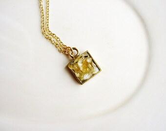 Citrine Necklace, Tiny Pendant Necklace, Minimalist Necklace, Geology Necklace, Stone Necklace