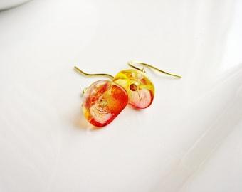 Orange Flower Earrings, Czech Glass Flower Earrings, Botanical Earrings