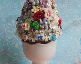 Petite Floral Upcycled Jewelry Tree Topiary Accent RESERVED FOR SHARON