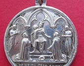 Antique Silver Virgin Mary Ave Maria Religious Medal Queen of the Most Holy Rosary Pendant  SS-292