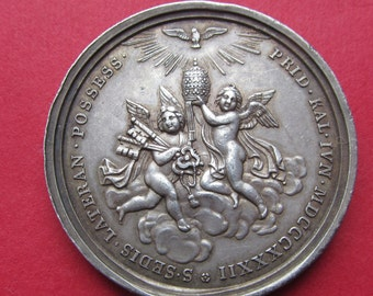 Pope Gregory XVI Silver Vatican Religious Medal Angel With Tiara And Keys By Giuseppe Girometti Dated 1832  SS507