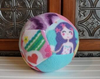 Large Soft Safe Fleece Fabric Ball for Baby Girl, Toddler Soccer Ball, Purple, Mermaid, Cupcake, Toddler Soccer Ball, Baby 1st Birthday Gift