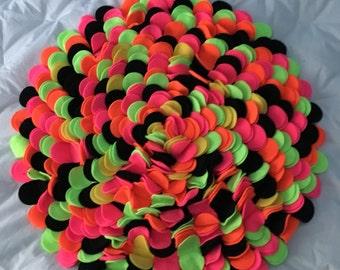 Neon Brights And Black Colorburst Fleece Rug