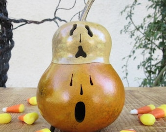 Halloween Gourd Jack O Lantern Ghost Top Primitive Pumpkin Decoration