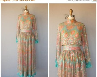 25% OFF FLASH SALE.. Vintage 1970s Maxi Dress | 70s Maxi Gown | 1970s Bohemian Formal Dress | 70s Sequined Silk Chiffon Maxi Dress (x-small)
