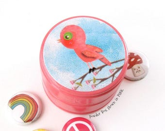 Little Pink Parakeet Bird Pill Box - Love Bird theme woodland Wedding Ring Box - Small round wooden Jewelry box