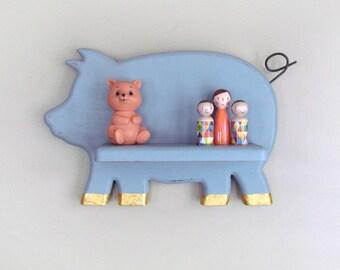 Pig Wall Shelf - Gray Chalk Painted Pig Wall Shelf - Modern Baby Decor - Storage Shelf