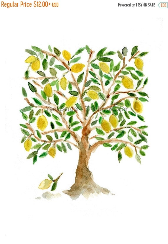 Holiday sale Art Print The Lemon Tree, Folk Art inspired, print of watercolor painting, green, brown and yellow, second open editon, Mediter